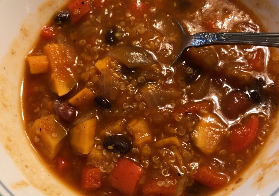 Pressure Cooker Sweet Potato & Quinoa Chili